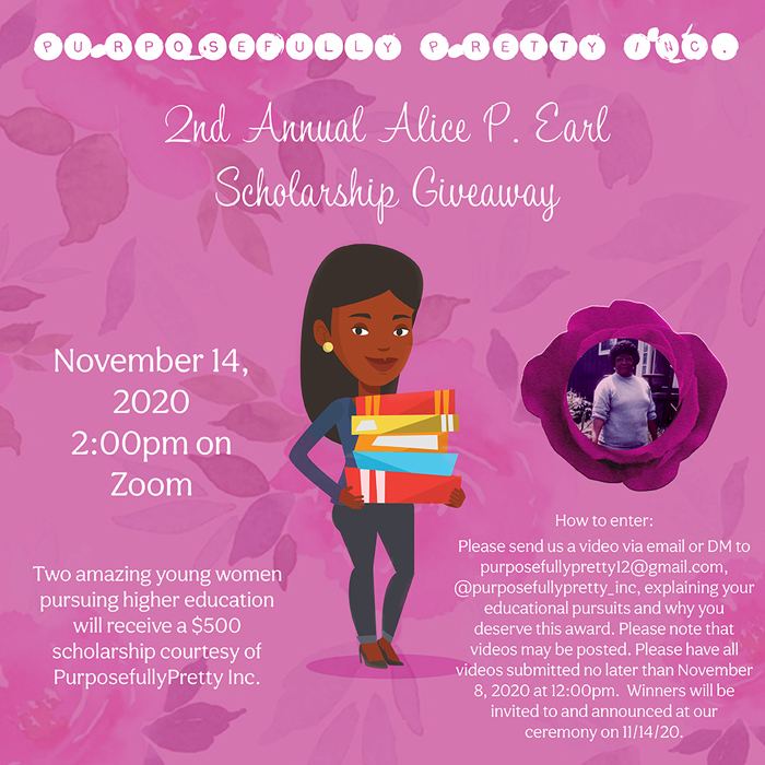 Second Annual Alice P. Earl Scholarship Giveawy